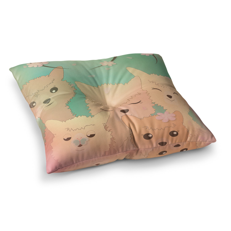 KESS InHouse Graphic Tabby Spring Alpacas Pastel Animals Square Floor Pillow, 23'' x 23''