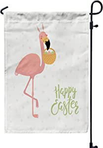 GROOTEY Welcome Outdoor Garden Flag Home Yard Decorative 12X18 Inches Cute Flamingo in Bunny Ears Basket Eggs Happy Easter Isolated Objects White Background Double Sided Seasonal Garden Flags