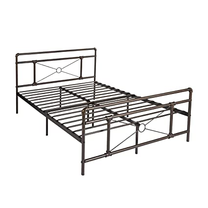 Amazon.com: GreenForest Metal Bed Frame Queen Size Bronze Platform ...