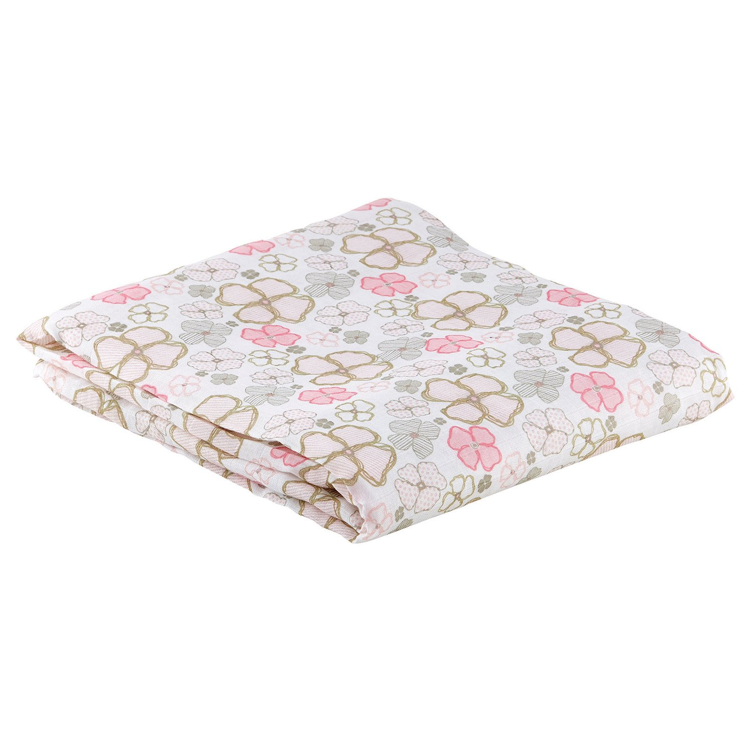 Stephan Baby Playful Posies Pink and Gray Floral Viscose Cotton Muslin Swaddle Blanket