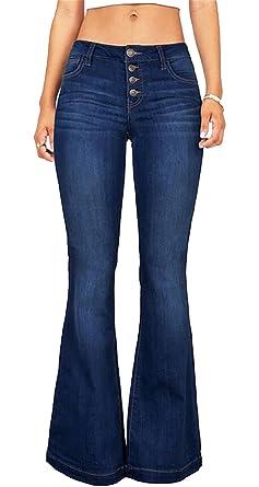 d0b9e85a7ec CRYYU-Women Plus Size High Waist Denim Fitted Bell Bottom Wide Leg Pants at  Amazon Women s Jeans store