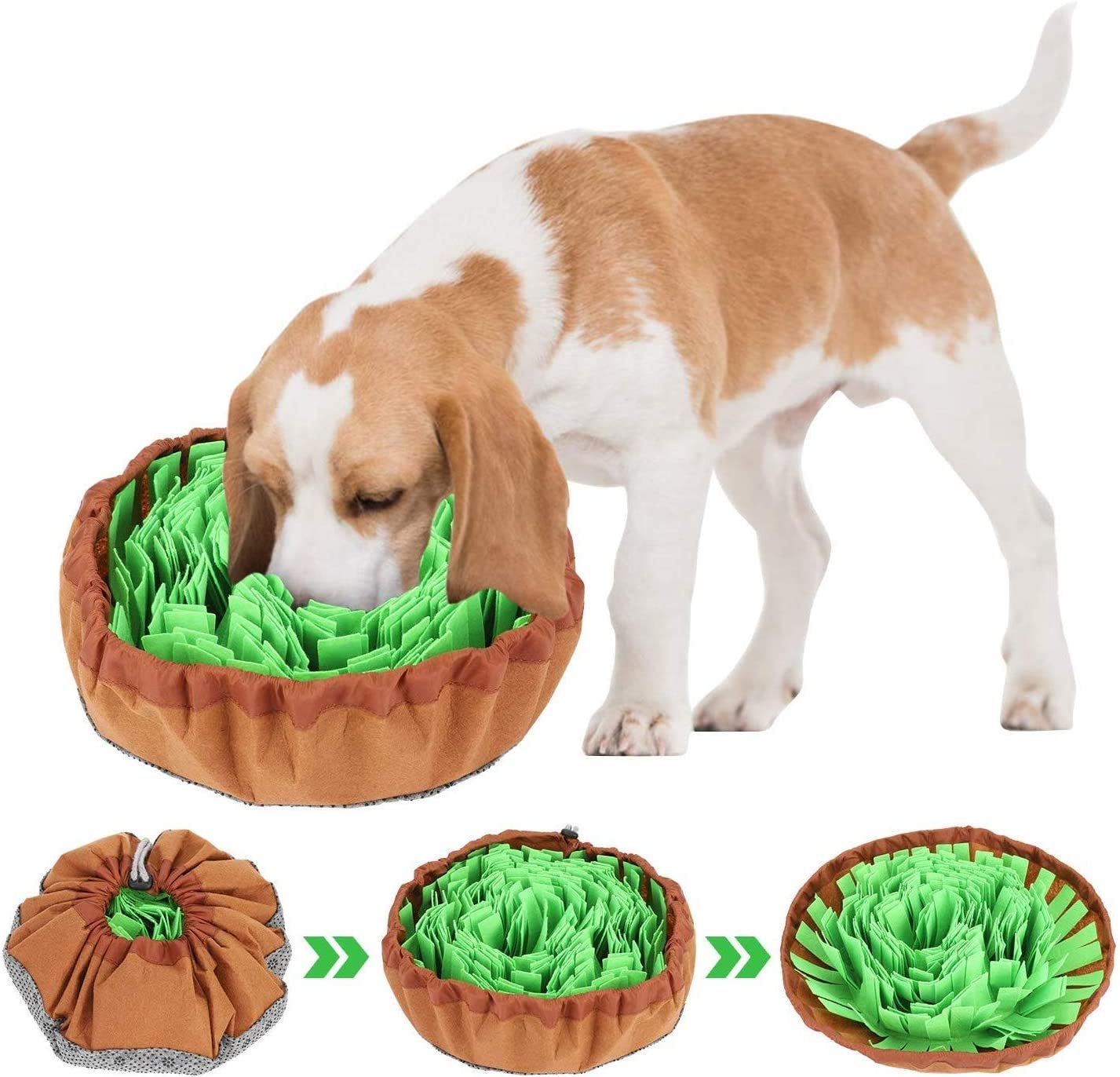 Dog Puzzle Toys, Snuffle Mat for Dogs, Dog Feeding Mat, Pet Maze Food Bowl Used for Slow Feeding and Smell Training Good for Dog Health and Releasing Pressure, Adjustable Size, Portable, and Washable