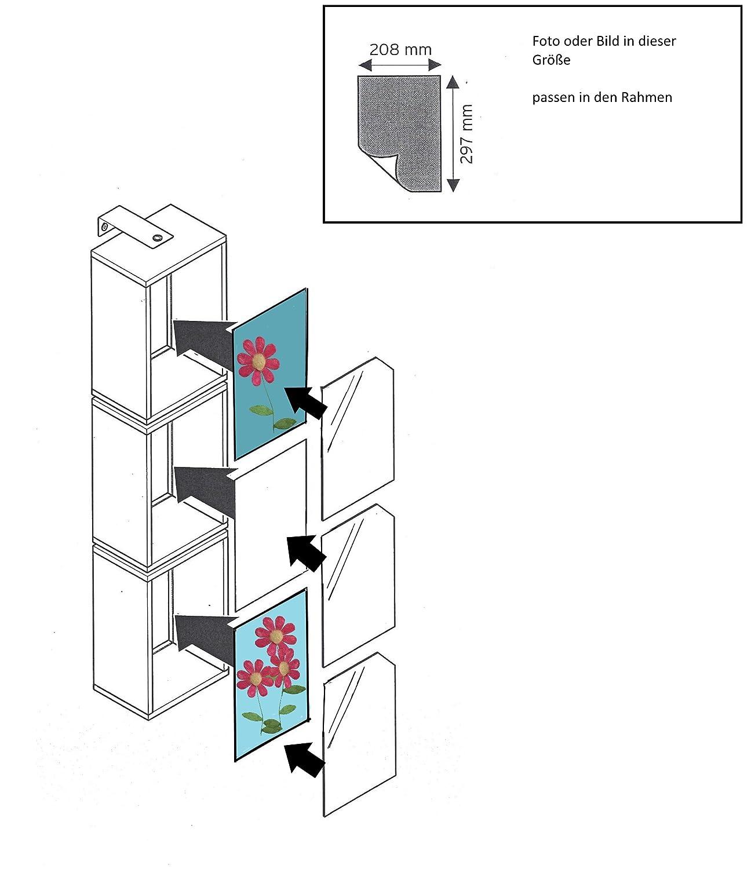 Wandregal Wandwürfel Drehbar 3 Würfel Regal Motiv Glas Bilder Weiss ...