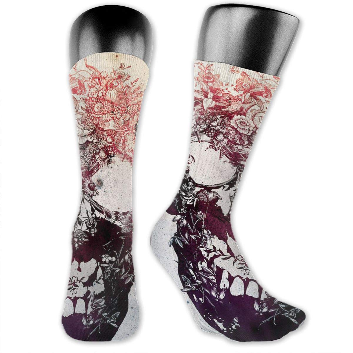 OLGCZM Collage Flower Skull Illustrations Men Womens Thin High Ankle Casual Socks Fit Outdoor Hiking Trail