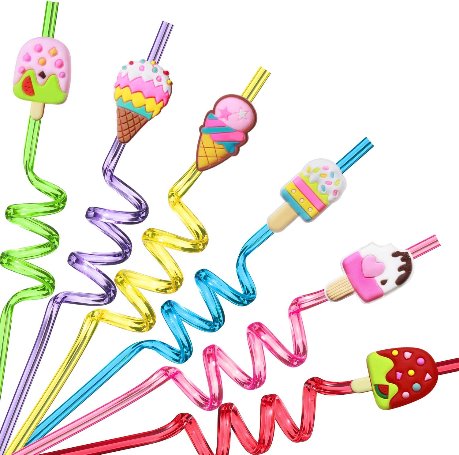 24 Reusable Ice Cream Straws for Birthday Party Supplies | Party Favors with 2 Cleaning Brush