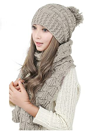 Fletion Latest Ladies Knit Hat + Scarf Set Girls Women Winter Warm Scarf  Thicken Crochet Bobble df2a38ab3ac