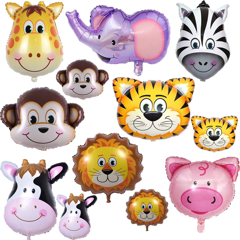 BESTZY Globo de Aluminio Animal Globos de Helio Globos Piezas Globos Animales Cumpleaños Animales Helio Decoración de Fiesta de cumpleaños Regalo de niños y niñas (12 Piezas)