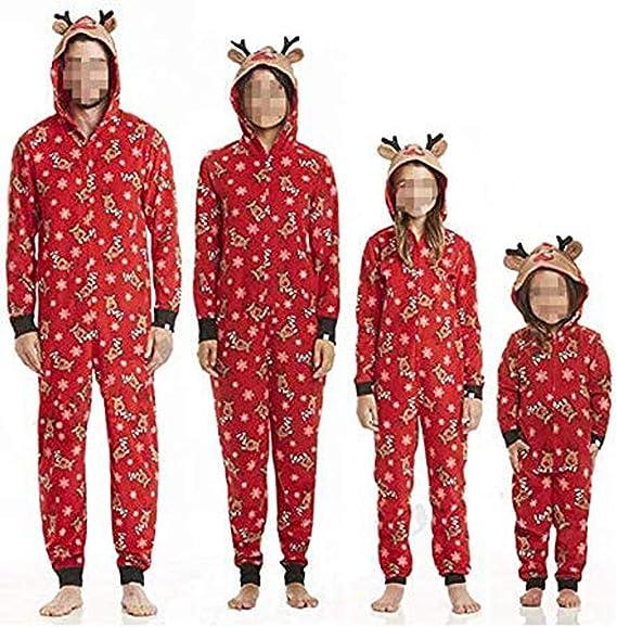 Pijamas Familiares Navideñas Pijama Navidad Familia Mono Navideños Mujer Niños Niña Hombre Pijama Reno Entero Una Pieza Trajes para Navidad Pijamas a ...