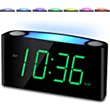 """Amazon.com: Alarm Clock for Bedrooms - 7 Color Night Light,2 USB Chargers, 7""""  Large LED Display with Slider Dimmer, 12/24 H,Battery Backup, Plug-in Loud Alarm  Clock for Heavy Sleeper,Teen,Elderly, Boys&Girls Kids: Electronics"""