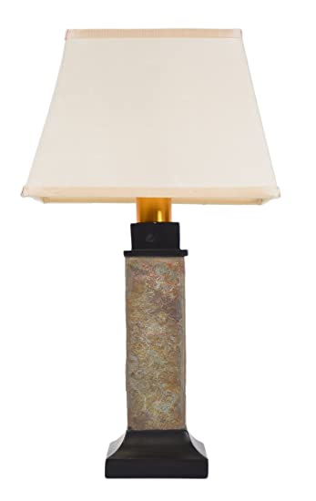 Amazing Torch Light ST913B Wireless All Weather Wicker Table Lamp, Natural Slate