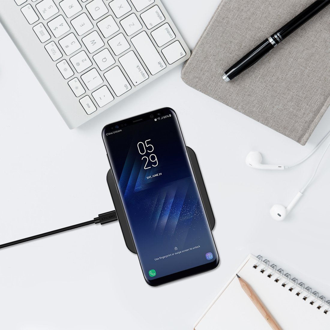 CHOETECH 10W Fast Wireless Charger Compatible Samsung Galaxy S9, S9 S8 Plus,Note 8, S8, S7, S7 Edge, Standard Wireless Charging Pad Compatible iPhone X, 8, 8 Plus (No AC Adapter) by CHOETECH (Image #7)