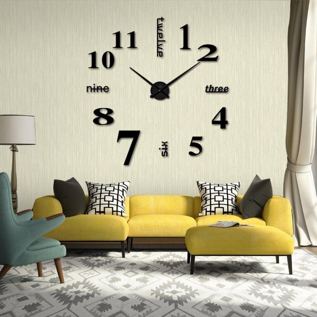 Rouge OHQ Horloge Murale en Acrylique Bleu Ciel Jaune Noir Argentacrylique Moderne DIY Horloge Murale 3D Miroir Surface Autocollant Home Office Decor