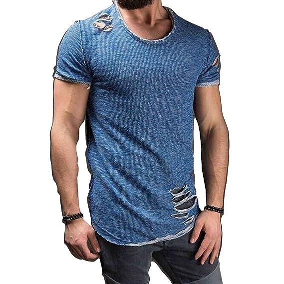 Kootk Manga Corta Camisetas Hombre Camisas Ripeado Tops Moda Casual Tee Camisas Blusas Ropa de Calle