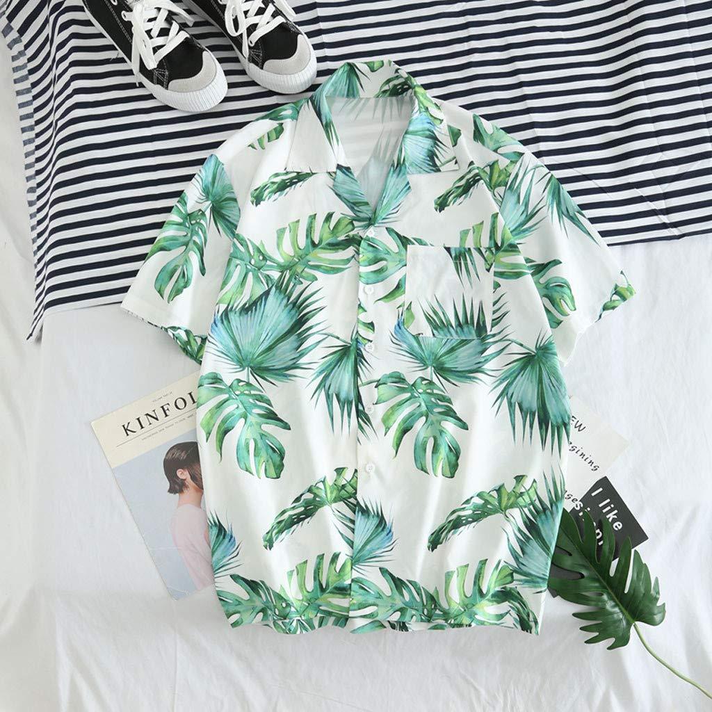 Beach Tree Print Casual Button Down Standard Fit Beach Casaul Shirts Loose Tops RNTOP Mens Hawaiian Short Sleeve Shirt
