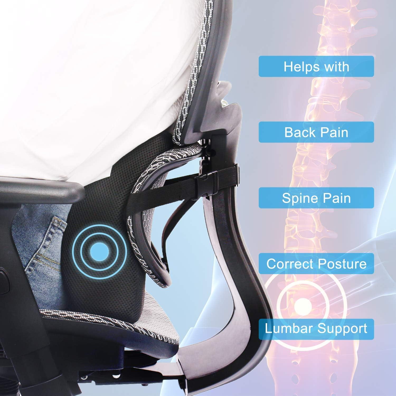 Lumbar Support Pillow Memory Foam Lumbar Cushion for Car Seat Home//Office Chair Recliner Breathable 3D Mesh Back Cushion Black