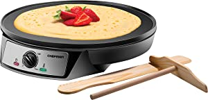 Chefman Electric Crepe Maker & Griddle, Precise Temperature Control Skillet Blintzes, Pancakes, Eggs, Bacon and more, 12 Inch Non-Stick Grill Pan, Includes Batter Spreader & Spatula, Stainless Steel