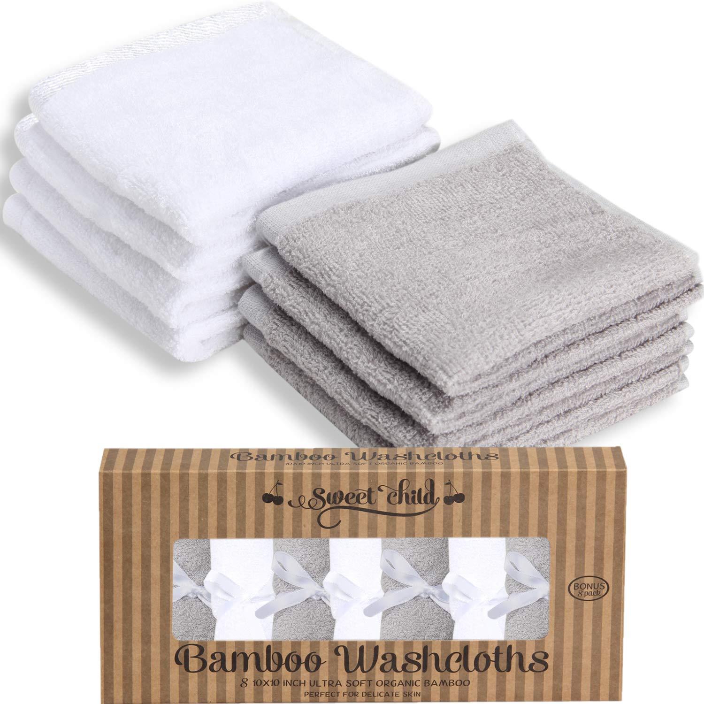 SWEET CHILD Bamboo Baby Washcloths - Premium Extra Soft 10x10, Pinkk Bonus 8-Pack
