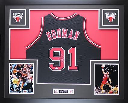 buy popular a237d c503e Dennis Rodman Autographed Black Chicago Bulls Jersey ...