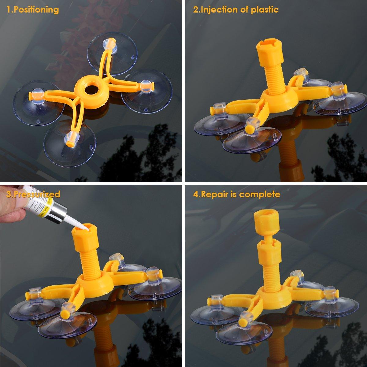 Yudanny Trousse de bricolage kit de r/éparation de pare-brise en r/ésine de pare-brise en verre de fen/être de voiture