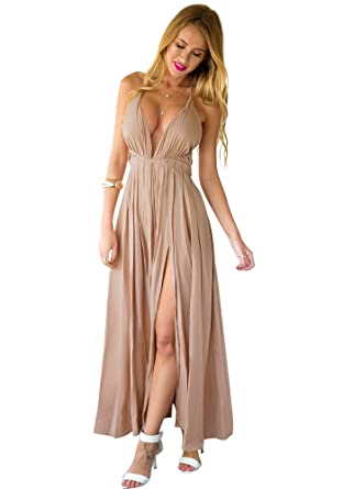 Lookbook Store Women Camel Plunge Crisscross Back Front Slit Strappy Maxi Dress US 12