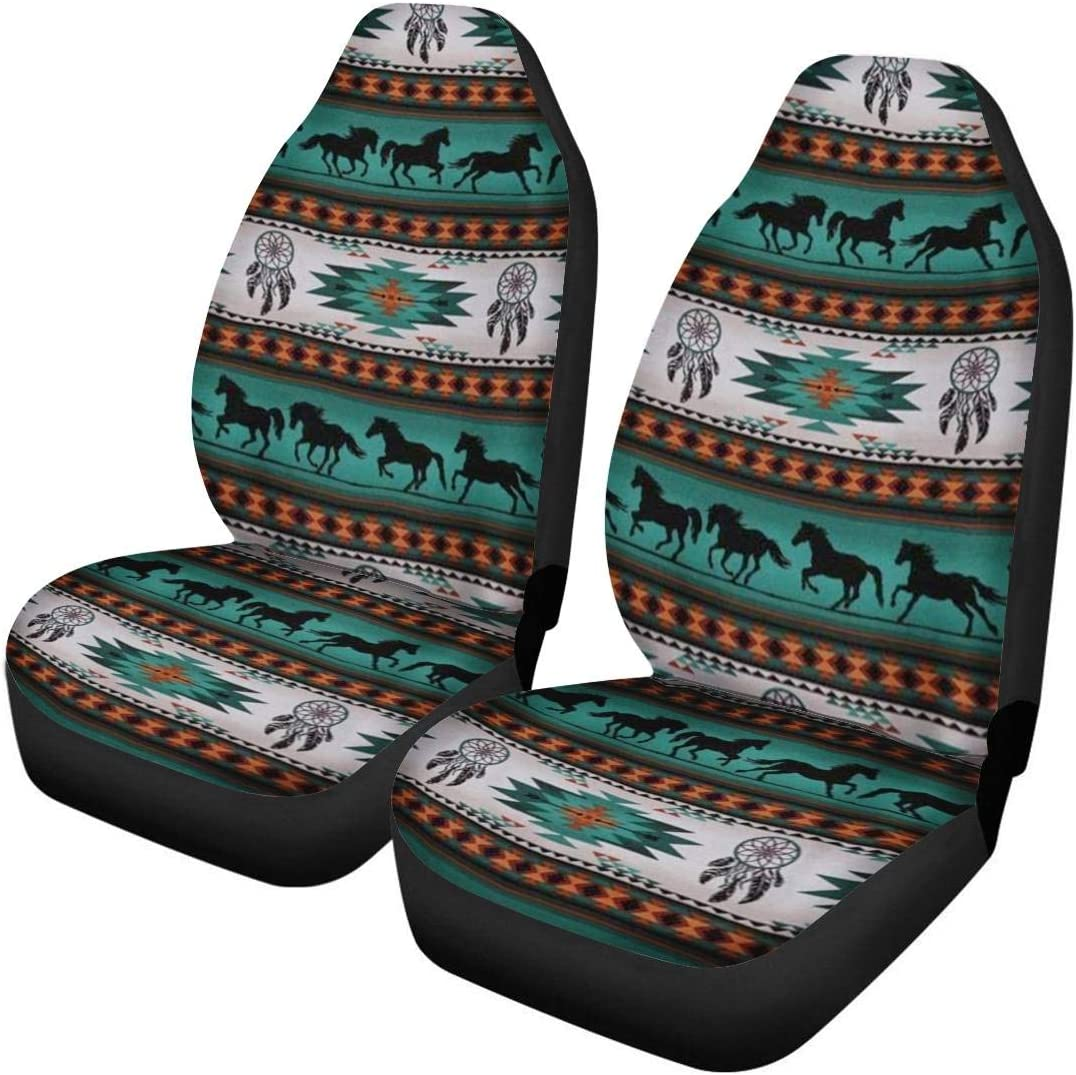 ELEQIN Tribal Horse Pattern Front Seat Covers 2 pcs Vehicle Seat Protector Navajo Print Car Mat Covers Fit Most Car Truck SUV or Van