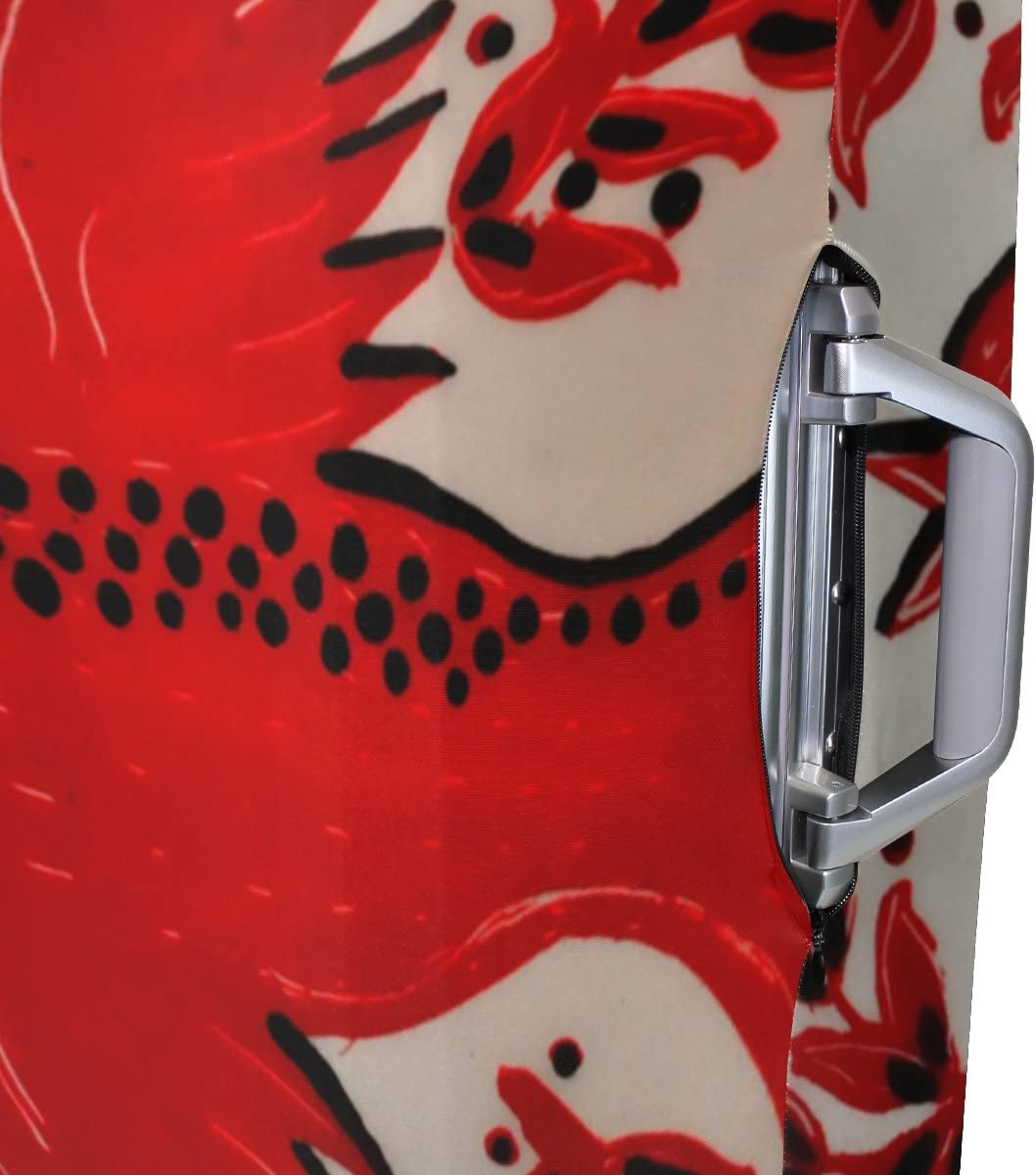 LEISISI Red Bird Pattern Luggage Cover Elastic Protector Fits XL 29-32 in Suitcase