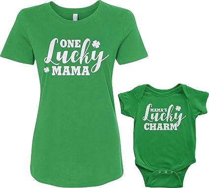 dfc86bdb9 Lucky Mama & Lucky Charm Infant Bodysuit & Women's T-Shirt St Patrick's  Matching Set