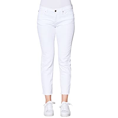 Fresh Groove Women's Destructed or Raw Hem Straight Jeans (White, 32)