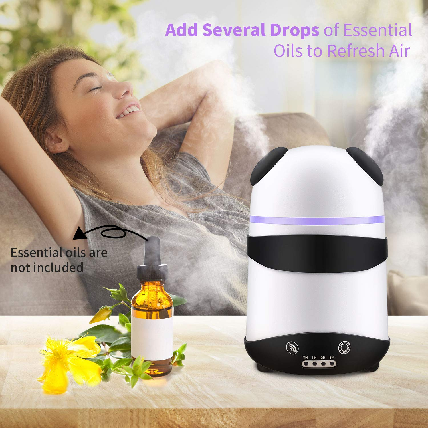 Number-One Essential Oil Diffuser, Dual Spray Safe Waterless Auto Shut-off Aromatherapy Diffuser Timer 7 Colors LED Night Lights Ultrasonic Humidifier Home Office Bedroom Baby Women (Black) by Number-One (Image #3)