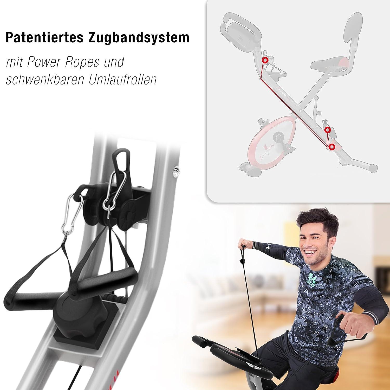 X150 X Bike 4in1 Heimtrainer mit Smartphone APP einzigartiges Zugbandsystem Handpulssensoren Ergometer Hometrainer Sportstech X100-B Faltbares Fitness Fahrrad-Tablethalterung R/ückenlehne klappbar