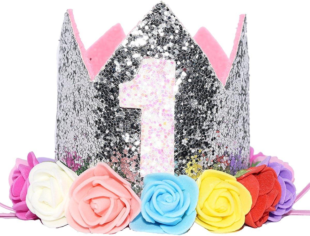 Amazon.com: Tiara con purpurina de princesa de 1/2 1° 2 3 ...