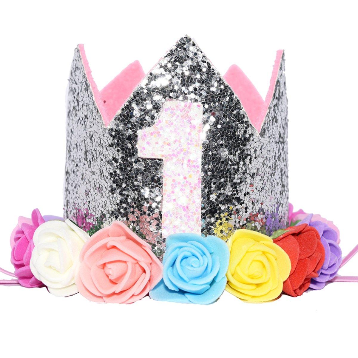 Glitter 1/2 Birthday Princess Flower Crown Tiara Headband Cake Smash Photo Prop