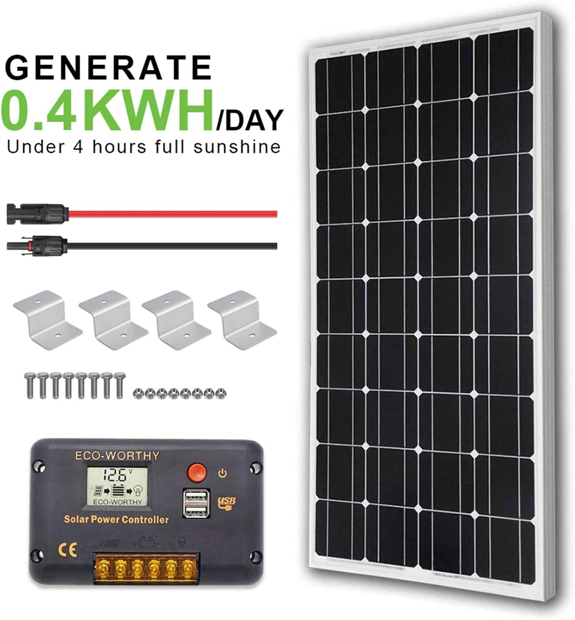 ECO-WORTHY 12V 100W Monocrystalline Solar Panel 20A LCD Charge Controller a Pair of 16ft Solar Cables Z Bracket for Trailer,RV,Homes