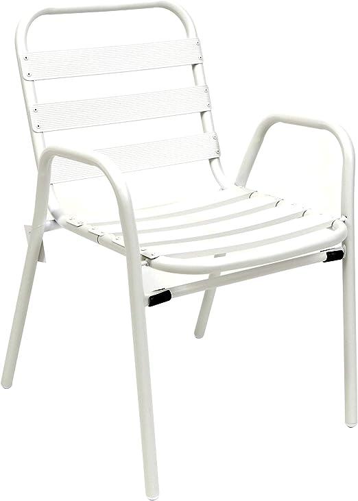thesecrethome.es Silla Aluminio Blanca. Ideal para TU JARDÍN O TERRAZA. (60 x 54 x 78 cm): Amazon.es: Jardín