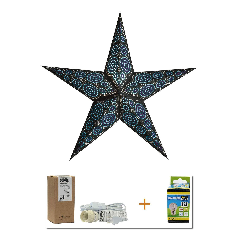 Papierstern black/turquoise Marrakesh | Weihnachtsdeko schwarz | Weihnachtsstern | Leuchtstern | Adventsstern 5 Zacken | starlightz | Weihnachten