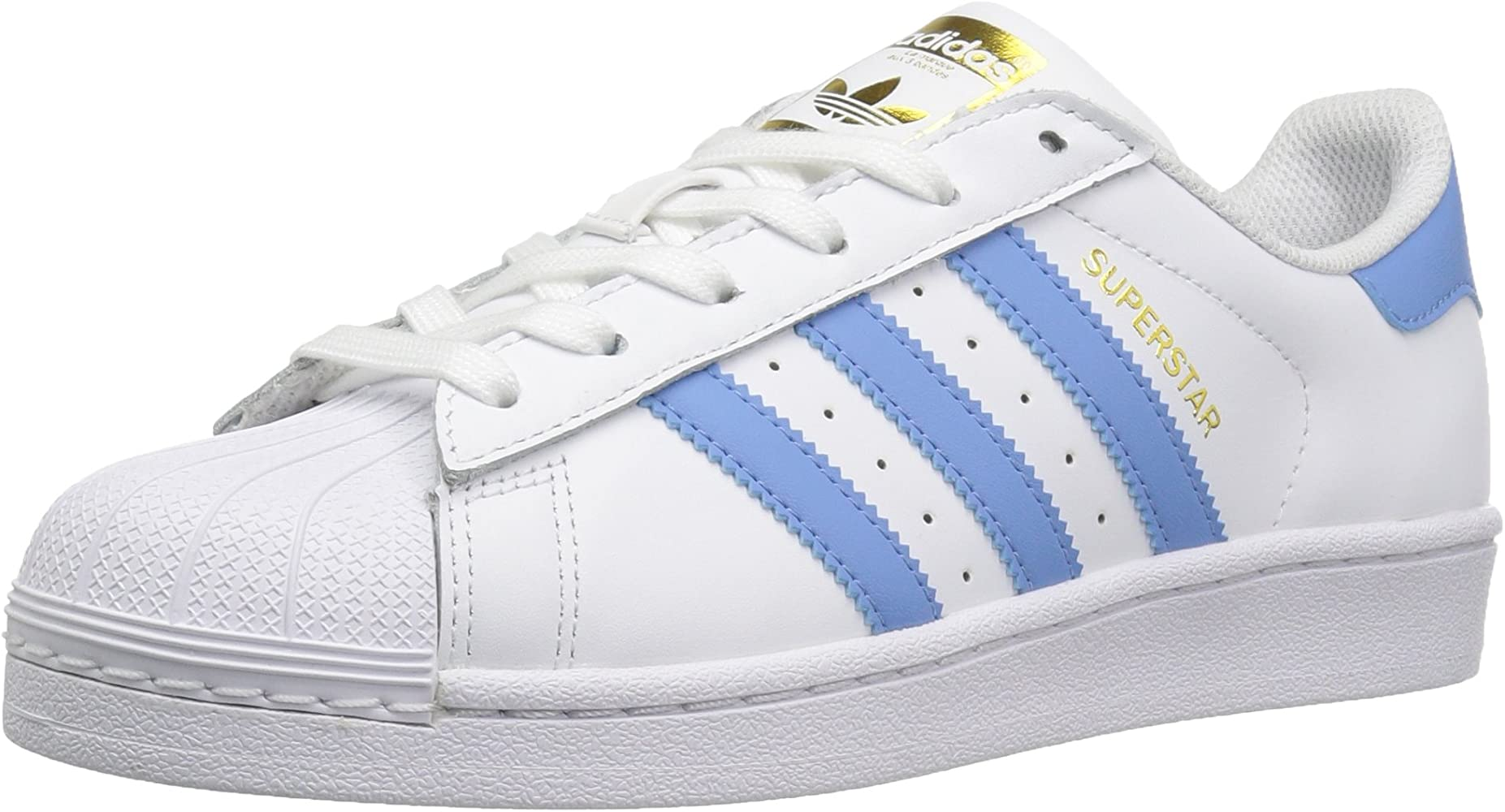 finest selection c2fd2 63e4c Women s Superstar Shoes Running, White Columbia Blue Metallic Gold, (10 M  US)