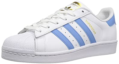 adidas Originals Women's Shoe's Superstar W Fashion Sneaker, White/Columbia Blue/Metallic/
