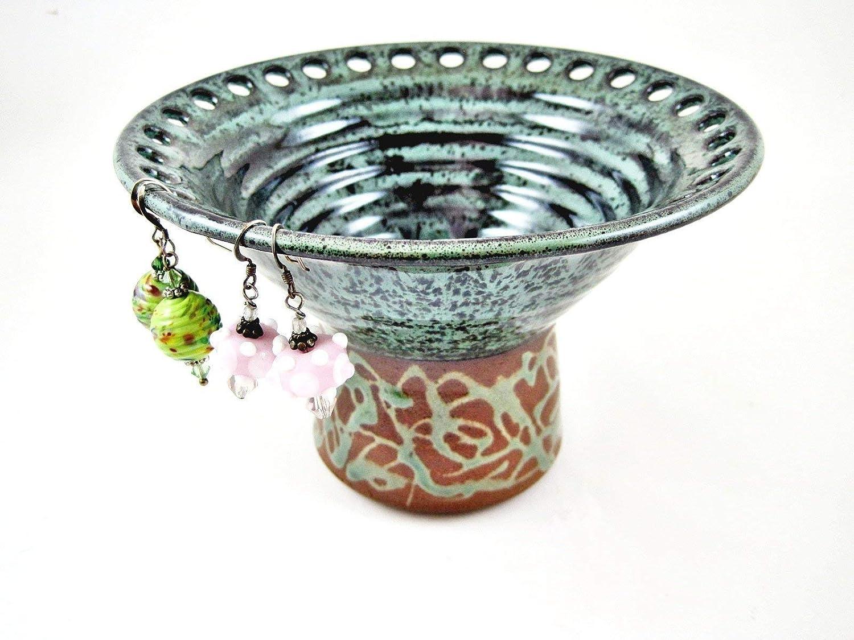 Handmade Pottery Earring Vase, Ceramic Jewelry Holder, Accessory Organizer