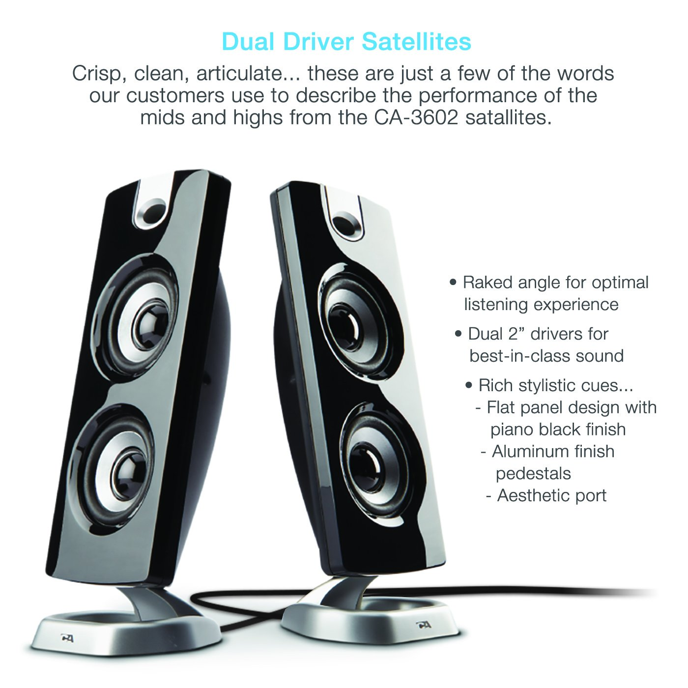 Cyber Acoustics Ca 3602a 62w Desktop Computer Speaker Wiring Speakers For With Subwoofer Perfect 21 Gaming And Multimedia Pc Electronics