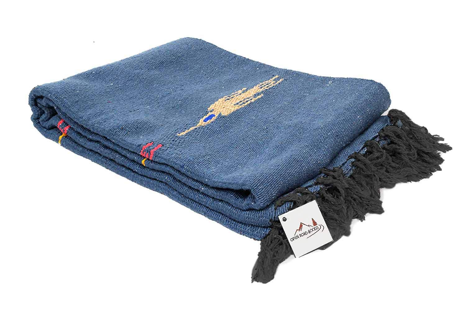 Open Road Goods Slate Blue Thunderbird Heavyweight Yoga Blanket or Throw - Made for Yoga!