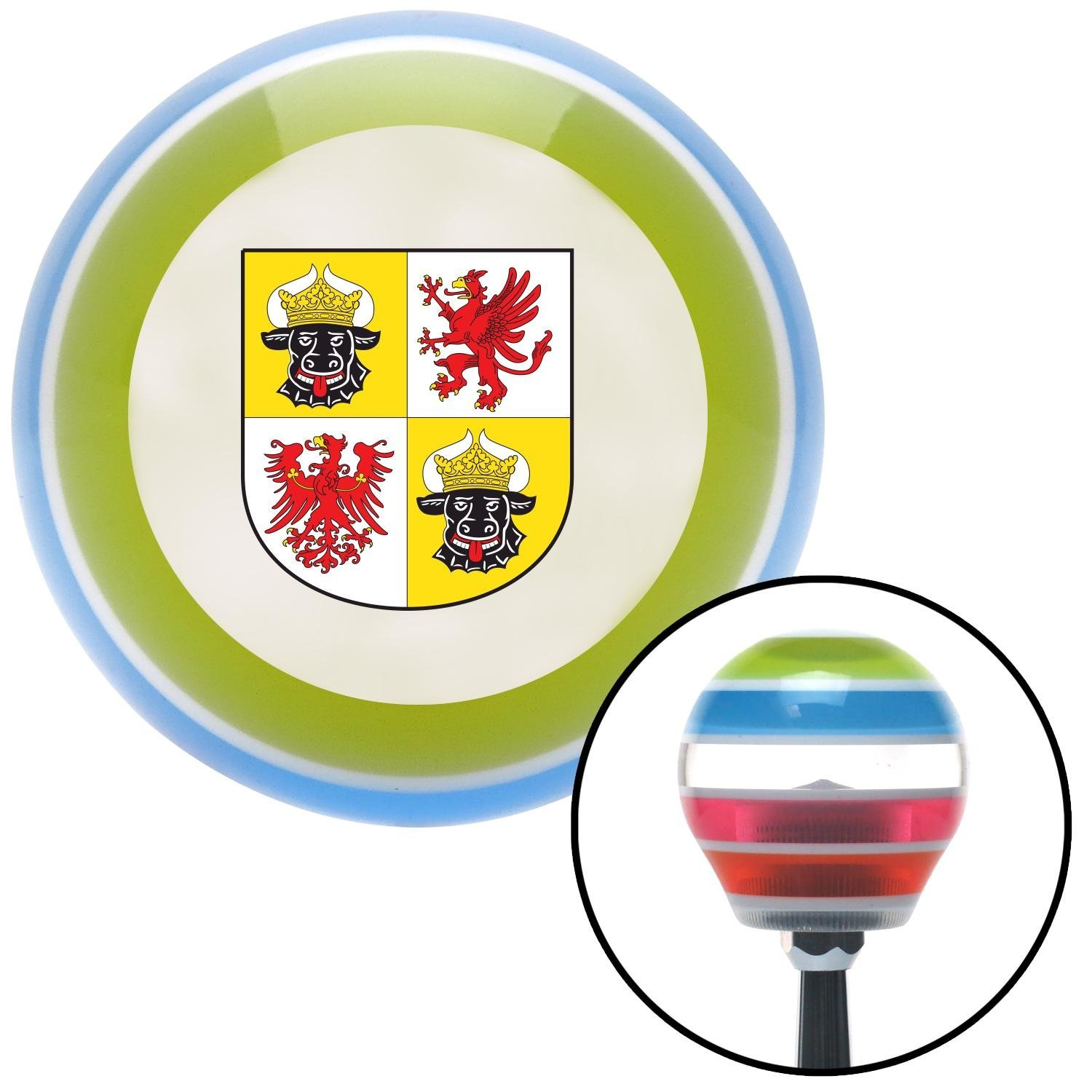 Mecklenburg Western Pomerania Coat of Arms American Shifter 133081 Stripe Shift Knob with M16 x 1.5 Insert