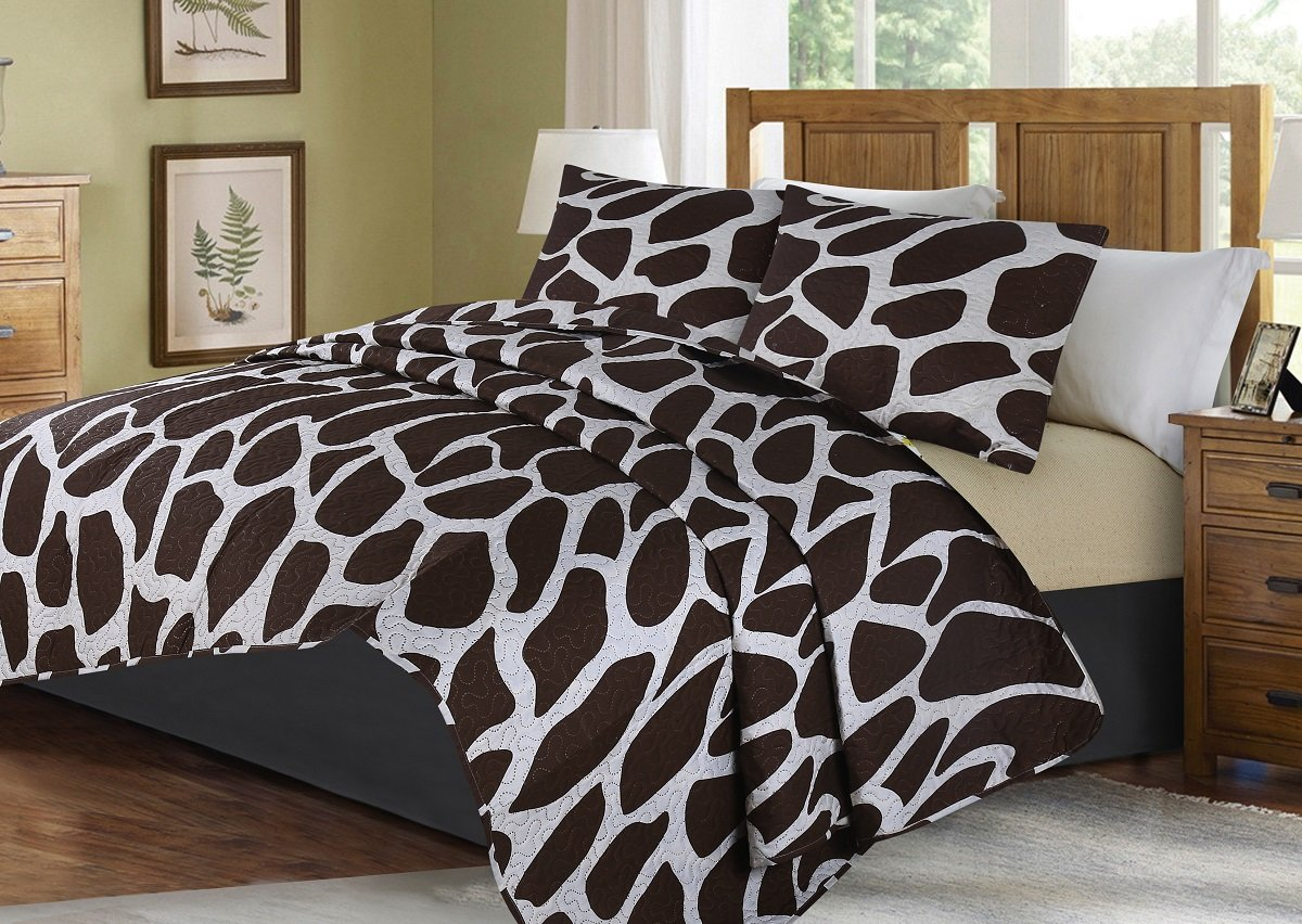 GorgeousHome African Wild Jungle Animals Bedroom Printed Quilt Bedspread Pinsonic Bed Dressing Bedding Cover 2/3pc Set in 3 Sizes Assorted (ANIMAL #1 GIRAFFE, QUEEN)
