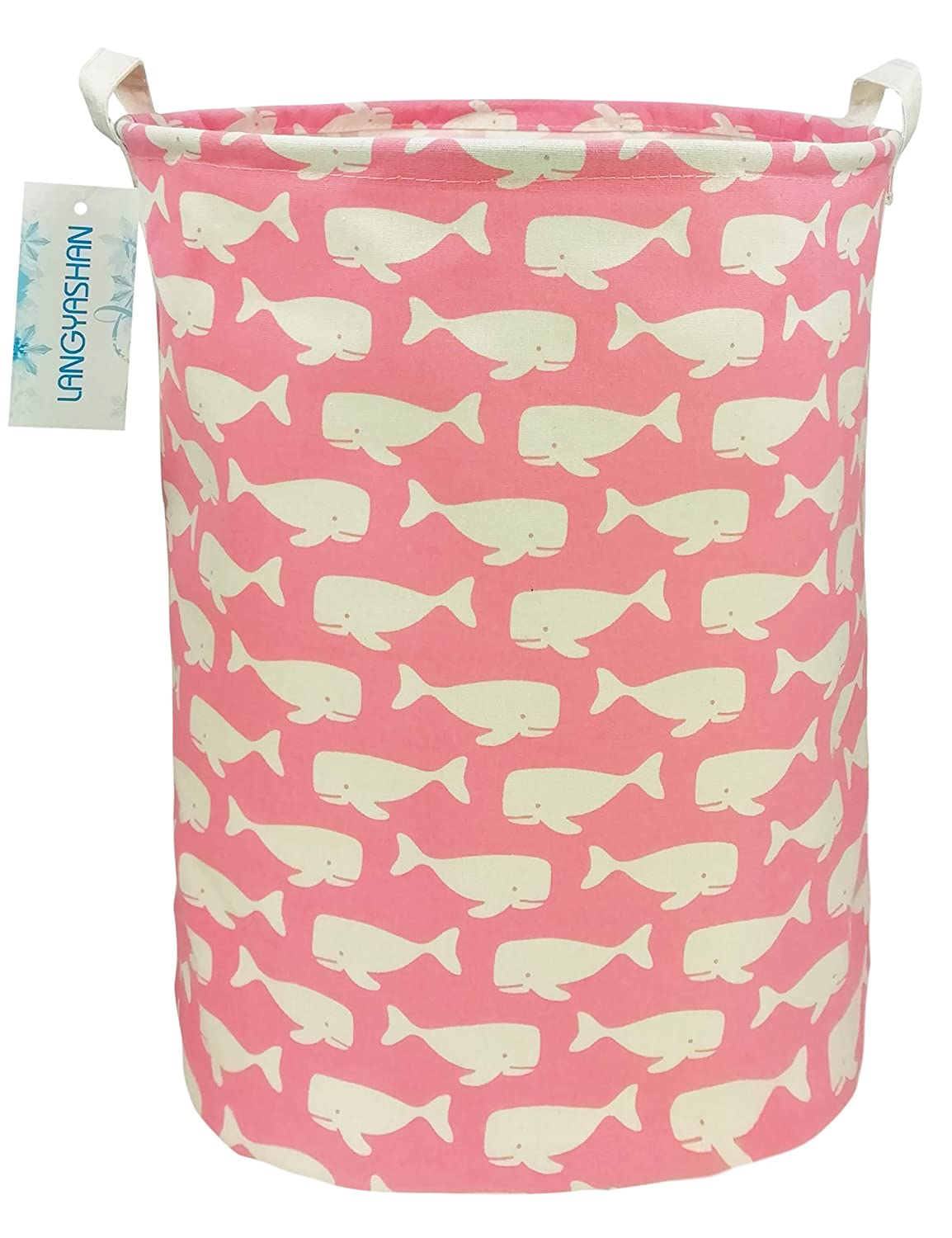 LANGYASHAN Storage Bin,Canvas Fabric Collapsible Organizer Basket for Laundry Hamper,Toy Bins,Gift Baskets, Bedroom, Clothes,Baby Nursery (Pink Whale)