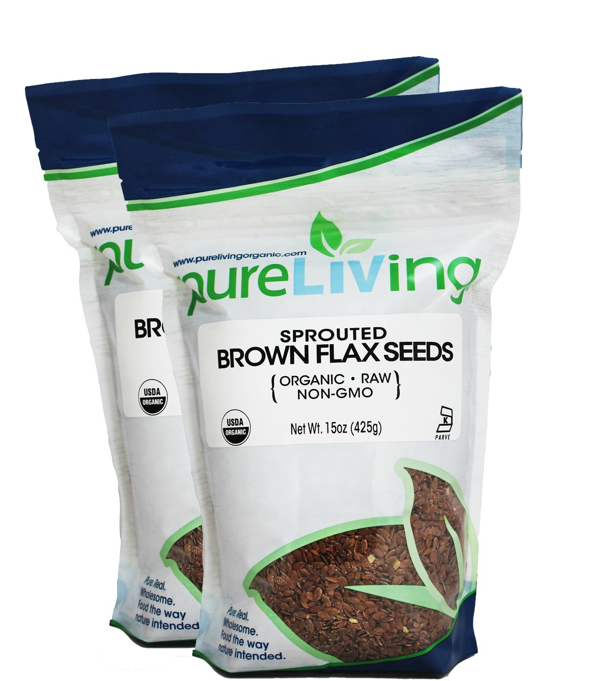 Pure Living Sprouted Brown Flax Seeds 15 oz - 2 Pack