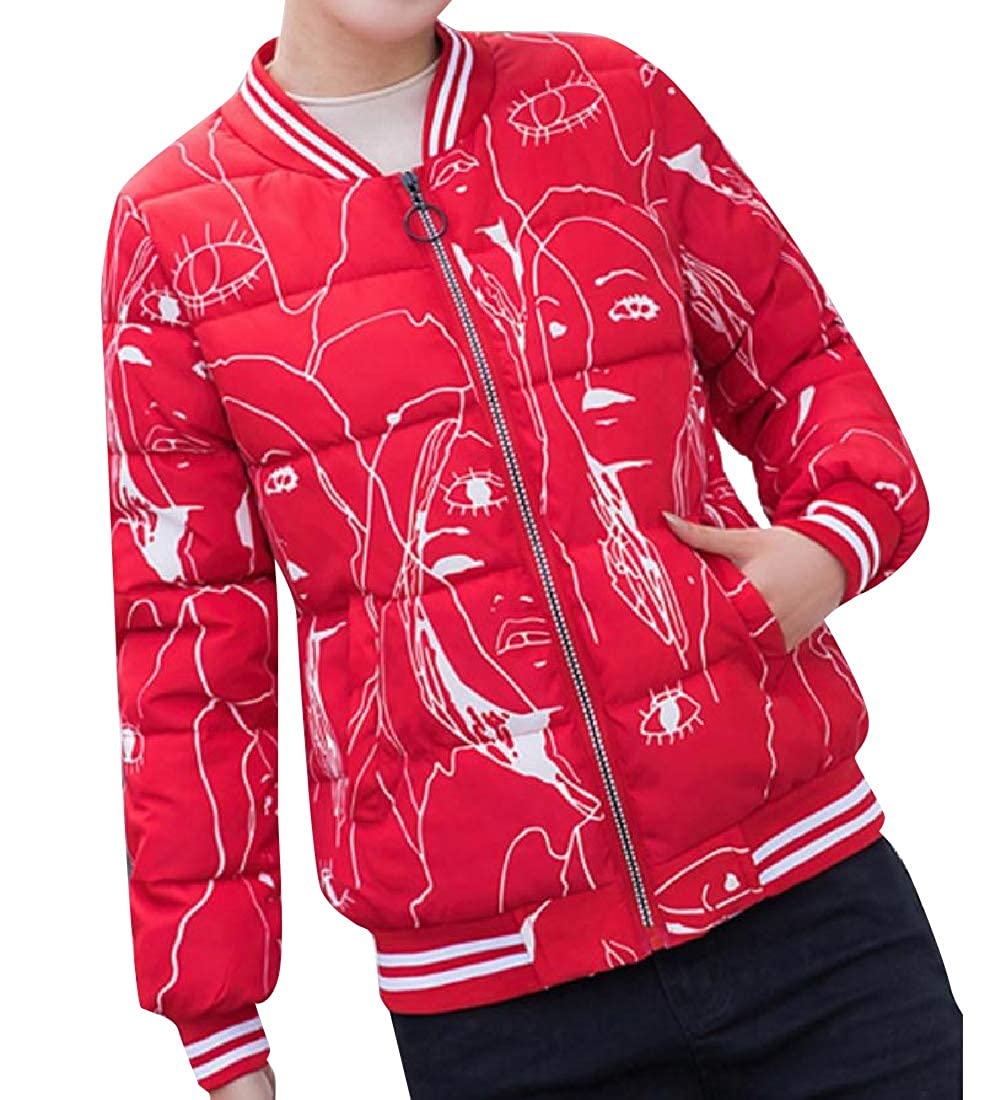 YUNY Womens Banded Collar Packable Puffy Jacket with Pockets Red L