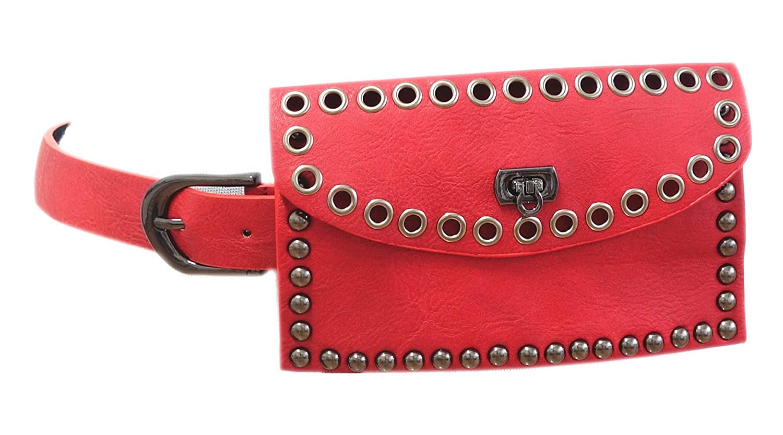 Damen Gürteltasche Gürtel mit Tasche Geldtasche Perlen Kugeln Dunkel Blau C-9201