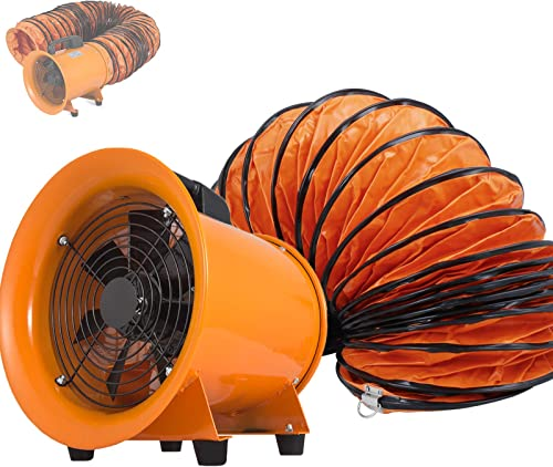 OrangeA Utility Blower Fan 10 inch Portable Ventilator High Velocity Utility Blower Mighty Mini Low Noise with 10M Duct Hose 10 inch Fan with 10M Hose