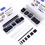 Hilitchi 425 Pcs 40 Pin 2.54mm Pitch Single Row Pin Headers Dupont Connector Housing Female Dupont Male/Female Pin Connector Kit