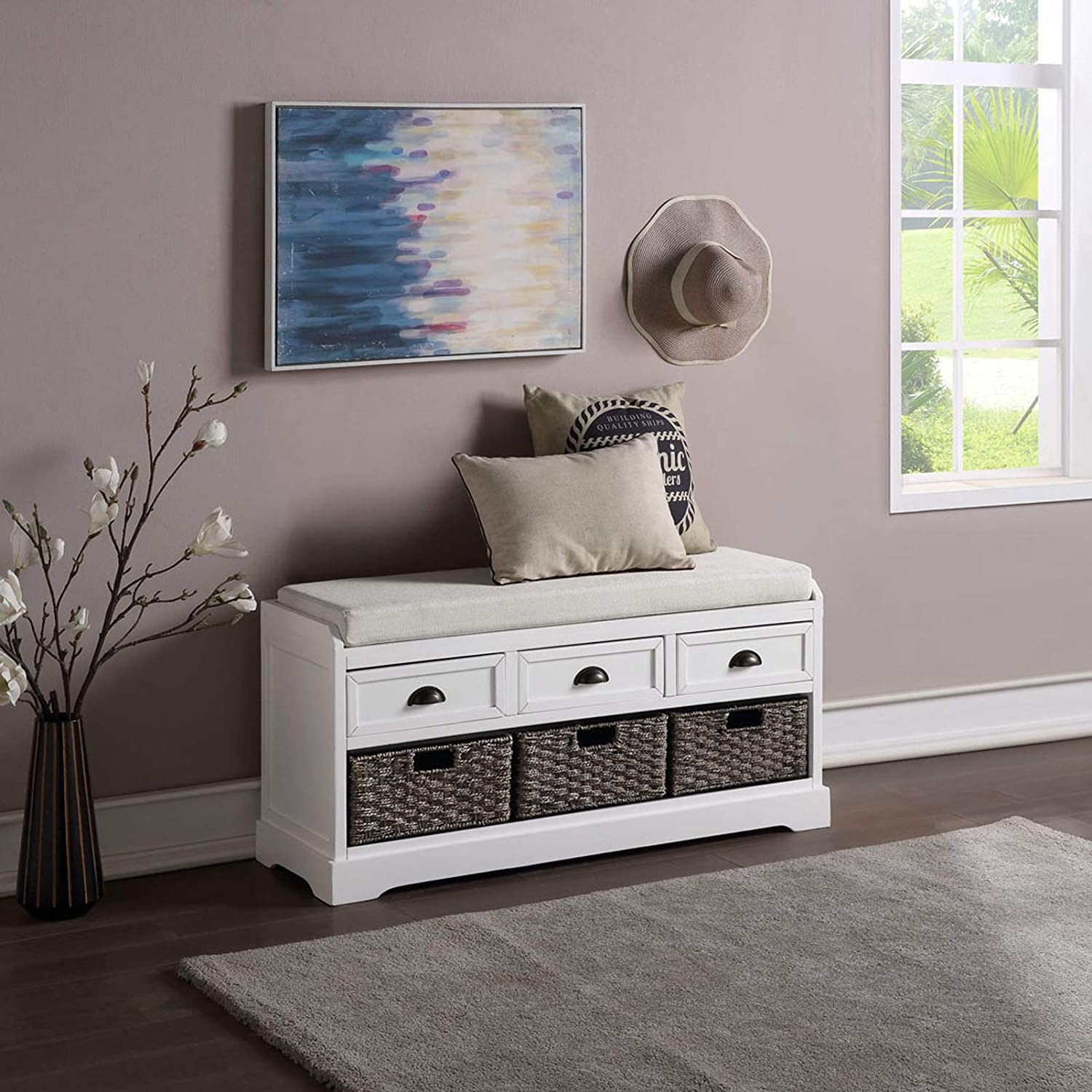 Rustic Wood Storage Bench with 3 Drawers and 3 Woven Baskets Home Collection Wicker Storage Shoe Bench Cabinet with Removable Cushion, Entryway Shoes Organizer for Living Room Entryway Hallway (White)
