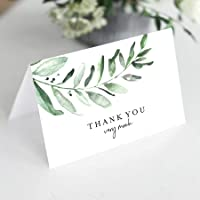 Bliss Collections Greenery Thank You Cards with Envelopes, Pack of 25, 4x6 Folded, Tented, Bulk, Perfect for: Wedding, Bridal Shower, Baby Shower, Birthday, Funeral or a Great Way Just to Say Thanks